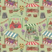 Lewis & Irene Farmers Market - 5346 - Market Stalls on Pale Green - A209.3 - Cotton Fabric